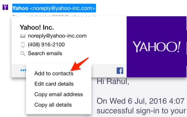 Yahoo Add to Contacts